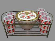 Georges Briard Strawberries Cocktail Set, Strawberry Fire King Ice Bucket, 5 White Glass Tumblers, Metal Holder Server