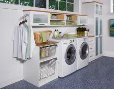 waschküche einrichten, grüne farbakzente