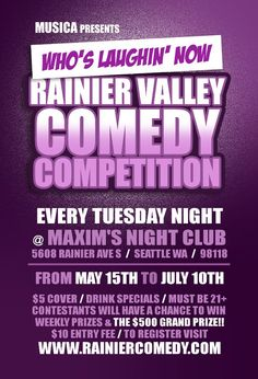 Rainier Valley Comedy Competition Whos Laughing Now Presented by Musica - Things To Do in Rainier Valley   #Seattle