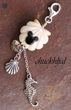 Lampwork Ocean Sea Shell Disney Inspired Mickey Mouse Style Designer Purse Charm by chuckhljal, $40.00
