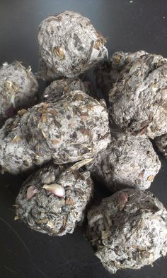 Seed bombs made with newspaper pulp