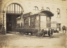 The Vatican 'papal' carriage, built for Pope Pius IX, who promoted the extension of the railway system  throughout the Papal States.  The above railroad-car (circa 1859) was for his personal use on frequent trips through the Papal States. Today, the car remains on exhibition in the Museum of Rome. (ack J Paul Getty Museum)