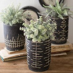 """(Set of 3) Black & White Clay Planters Product Dimensions: 7""""d x 9.5""""t"""
