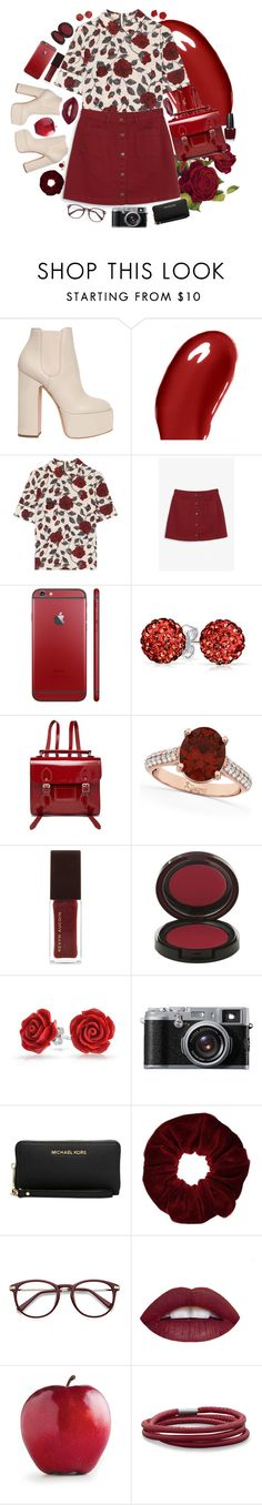 """""""Rosie"""" by bschreiber ❤ liked on Polyvore featuring Laurence Dacade, Burberry, Ganni, Monki, Bling Jewelry, The Cambridge Satchel Company, Allurez, Kevyn Aucoin, Fujifilm and Michael Kors"""