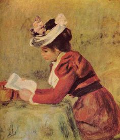 """Pierre Auguste Renoir """"Femme Lisant"""" or Woman Reading Pierre Auguste Renoir, Jean Renoir, Edouard Manet, Reading Art, Woman Reading, August Renoir, Renoir Paintings, Impressionist Artists, French Artists"""