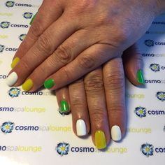 Color blocking #cosmospalounge #handpainted #nailart #colorblocking #solids #punchy #brights