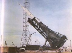 June 25, 1969: At the Tyuratam Cosmodrome in Kazakhstan SSR, the N-1 Manned Lunar Launch Vehicle is raised onto its launch pad for flight preparation for the 3 July 1969 launch attempt of N-1/L3K with Cosmonauts Leonov  Makarov on board to land on the Moon.