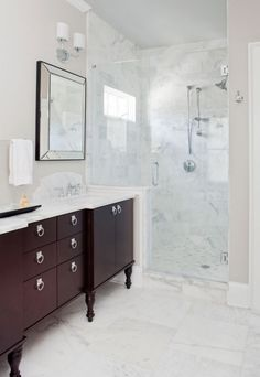 bathrooms - pale gray walls red wood double bathroom vanity turned legs marble c. Contemporary White Bathrooms, White Marble Bathrooms, Marble Showers, Transitional Bathroom, Glass Showers, Dark Wood Bathroom, Bathroom Chrome, Small Bathroom, Staining Cabinets