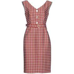 Prada Knee-length Dress ($1,070) ❤ liked on Polyvore featuring dresses, red, checkered dress, prada dresses, wool dress, red slit dress and sleeveless dress