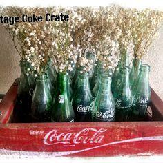 Vintage Coke Crates with bottles