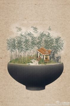"""moonbeam-on-changan: """"Summer ice dessert that is made of chinese shanshui and chinese porcelain by 呼葱觅蒜. Zen Painting, Chinese Painting, Traditional Landscape, Traditional Paintings, Landscape Illustration, Illustration Art, Bonsai Art, China Art, Hanging Art"""