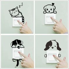XXYYZZ DIY funny Cute Sleeping Cat Dog Switch Stickers Wall Stickers Decal Home Decoration Bedroom Living Room Parlor Decoration room diy for cheap a budget living room living room Simple Wall Paintings, Creative Wall Painting, Wall Painting Decor, Creative Walls, Cool Art Drawings, Wall Drawing, Cheap Wall Stickers, Wall Stickers Words, Bedroom Stickers