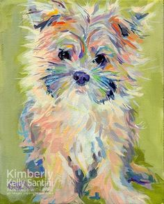 Gidget original fine art by Kimberly Santini - yorkie puppy painting Art And Illustration, Illustrations, Painting & Drawing, Watercolor Paintings, Watercolors, Watercolor Animals, Dog Portraits, Art Plastique, Fine Art Gallery