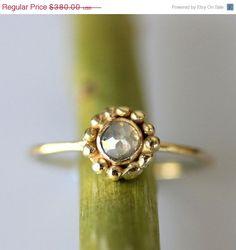 Granulated Rose Cut Diamond Ring