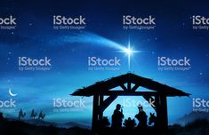 Nativity Scene With The Holy Family In Stable - Royalty-free Nativity Scene Stock Photo