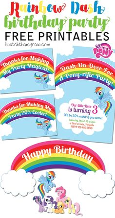 Free printable my little pony water bottle labels my for Rainbow dash cake template