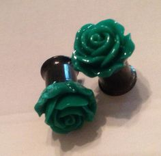 Deep Green Rose Floral Plugs Pick A Size 0g to 12G by SheMused, $18.00