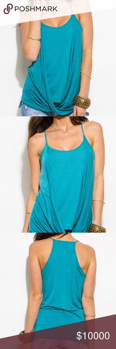 💥JUST IN💥 Turquoise blue twisted front racer back tank. 73% Rayon. 27% Polyester. Back2Basics Tops Tank Tops