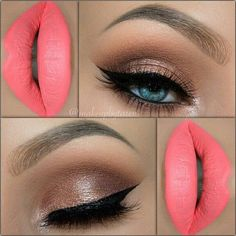 Muted/Natural color eyeshadows used with a standout lip shade-pinkish peach colored-it's stunning