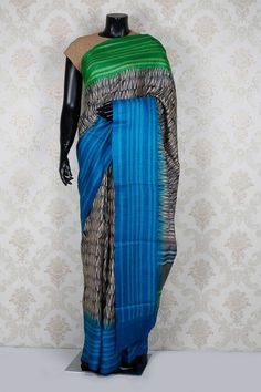 #Grey & #beige pure #tussar silk classic #saree with #blue & green border -SR13970