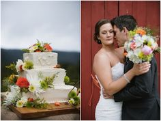 rustic, colourful cake + bouquet