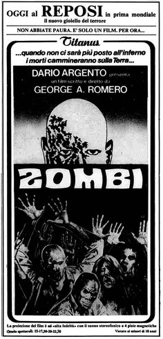 """Zombi"" (Dawn of the Dead, 1978) di George A. Romero, con David Emge e Ken Foree. Italian release: September 2nd, 1978 #MoviePosters #HorrorMovies #Zombie #Zombi #DarioArgento"