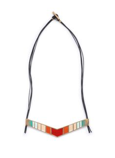 Sabin necklace: Chevron shaped painted statement necklace with leather cord. | Shop | betsy & iya