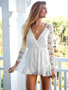 white lace sleeve romper - unique women's fashion