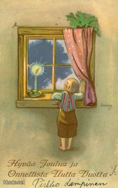 Martta Wendelin Scandi Christmas, Vintage Christmas Cards, Christmas Greeting Cards, Christmas Greetings, Kids Christmas, Christmas Windows, Christmas Illustration, Illustration Art, Girl Face Drawing