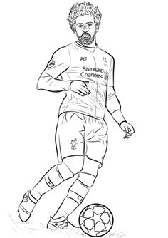 Mohamed Salah coloring page from Soccer category. Select from 31983 printable crafts of cartoons, nature, animals, Bible and many more. Liverpool Badge, Salah Liverpool, Liverpool Squad, Colouring Pages, Coloring Sheets, Coloring Books, Mohamed Salah, Soccer Art, Cool Birthday Cards