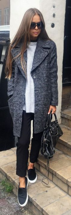 Gray Mocked Coat Fall Inspo women fashion outfit clothing stylish apparel @roressclothes closet ideas
