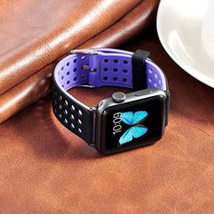 Buy Apple Watch Band,Soft Silicone Sport Replacement Strap with Adjustable Buckle and Quick Release for Apple iWatch/New Apple iWatch Series 2/ Apple Watch Series 1/Nike+ (42mm-Black/Purple) NEW for 19.99 USD | Reusell