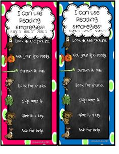 First Grade Fever!: Fun Bright Chalkboard Reading Strategy Posters {& a FREEBIE!}