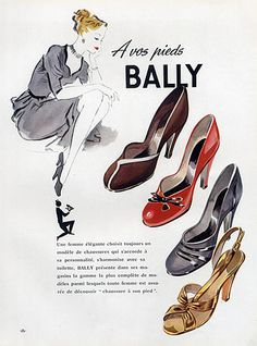 Bally (Shoes) 1951  shoes#fashion#advertising#Bally
