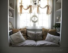 Window seat and shelves. Holiday House Walk 2012 {Welcome To Our Home} | Jeanne Oliver