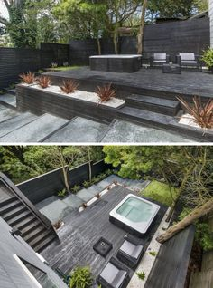 13 Multi-Level Backyards To Get You Inspired For A Summer Backyard Makeover! // This backyard has created multiple levels through the use of black wood to make steps, planters, and an elevated deck wi (Patio Step Hot Tubs) Hot Tub Backyard, Backyard Trampoline, Modern Backyard, Landscaping With Rocks, Backyard Landscaping, Backyard Ideas, Backyard Layout, Backyard Makeover, Exterior Design