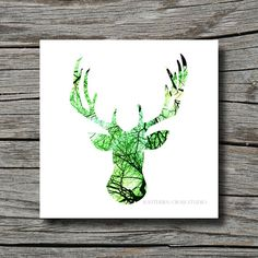 Antler art print spring black white green by SouthernCrossStudio, I LOVE THIS!
