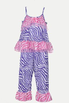 Adorable, sweet, and cute! Oh so pretty! This 2-piece strappy pajama set features two coordinating animal prints. The strappy top has tiered ruffles across the chest with a pink bow accent, and a tier