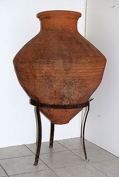 Greek Antique Terracotta Oil Jar with Iron Stand