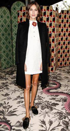 Alexa Chung: The model looks cool in a classic Chanel jacket - but surely she doesn't need any extra help in looking slim?