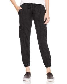 Bella Dahl Cropped Cargo Track Pants In Black Black Joggers, Black Pants, Soft Pants, Pants For Women, Clothes For Women, Sporty Chic, Dahl, Cotton Pants, Slim Legs