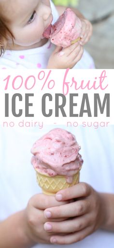 This ice cream is made of ONLY fruit! The texture is identical to soft-serve ice cream. Such a great healthy alternative for kids and adults alike!