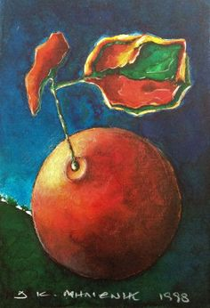 """Milionis """"Apocrypha Fruit"""" Signed Colored Talens Ecoline Small Painting 1998 #PopArt"""