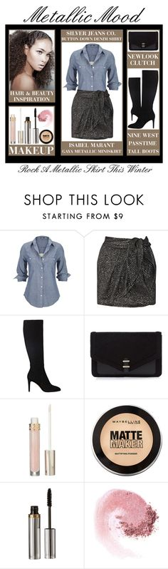 """""""Rock A Metallic Skirt This Winter"""" by latoyacl ❤ liked on Polyvore featuring Silver Jeans Co., Isabel Marant, Nine West, Stila, Maybelline, La Bella Donna and NARS Cosmetics"""