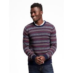 Old Navy Mens Fair Isle Crew Neck Sweater found on Polyvore featuring polyvore, men's fashion, men's clothing, men's sweaters, blue, mens sweaters, mens blue sweater, mens crewneck sweaters, old navy mens sweaters and mens crew neck sweaters