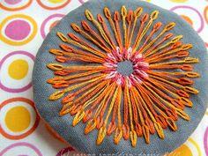 Orange stitchy brooch | Flickr - Photo Sharing!