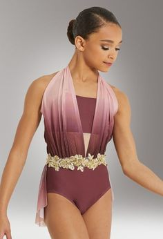 dance costumes Draped Halter Leotard With Applique Lyrical Costumes, Dance Costumes Lyrical, Ballet Costumes, Dance Leotards, Contemporary Dance Costumes, Pullover Shirt, American Girl, Figure Skating Dresses, Dance Outfits