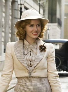Amy Adams in' Miss Pettigrew Lives for a Day' 1930s style striped cream suit by designer Michael O'Connor