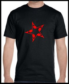 T-shirt Music Star Black and Red #Gildan #GraphicTee