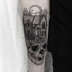 WEBSTA @ thomasbatestattoo - Haunted house on skull with bats 🦇💀Thanks for this awesome idea Alex.#tattoo #fineline #etching #blackwork #blackandgrey #fineline #darkartists #dotwork #skull #haunted #hauntedhouse #death #blackworkerssubmission #gothic #bats